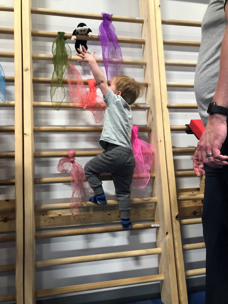 A child climbing the wall